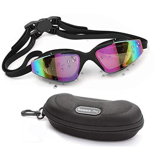 BEZZEE PRO Schwimmbrille UV-Schutz, getönt, beschlägt Nicht, Wird Nicht undicht, mit hochwertigem Doppelband aus Silikon und Verschlussschnalle, schwarz