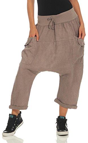 Malito Damen Pumphose aus Leinen | Stoffhose in Unifarben | Freizeithose für den Strand | Capri Hose 6824 (Fango)