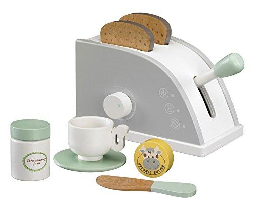 Kids Concept- Holzspielzeug Toaster Set Küchenspielzeug, 21,5x10x8,5cm, Mehrfarbig
