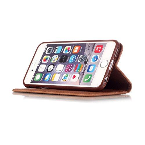 iPhone 6S Plus Hülle Case,iPhone 6 Plus Hülle Case,Gift_Source [Braun Campanula] [Kickstand Feature] Dream Catcher Design PU Leder Brieftasche Hülle Case Built-in Card Slots Flip Cover Folio Hülle Cas E01-07-Brown Campanula