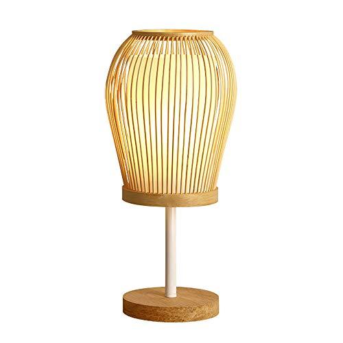 YZPTD Lámpara de mesa de bambú de estilo creativo LED lámpara de estudio sala de estar dormitorio de madera lámpara de noche lámpara de noche lámpara japonesa (Color : B)