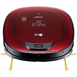LG VR8602RR - Hombot Turbo Serie 9+. Robot aspirador programable con doble cámara, para casas con niños y alfombras (Incluye cepillo alfombras, 2 mopas, 1 filtro extra, 2 cepillos laterales extra y mando a distancia), colo rojo