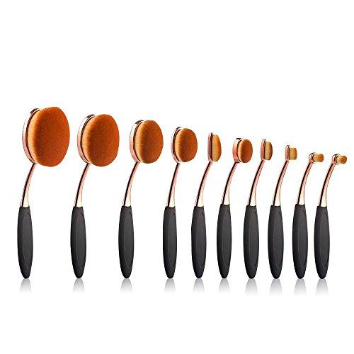 ovale Lot de brosse de maquillage, 10 pcs Professional ovale Or rose Pinceaux de maquillage Concealer Eyeliner Estompeur Cosmétique brosses Outil de