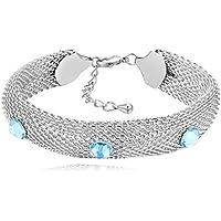 MOBEI Element Plata Cristal S925 Plata esterlina Pulseras con circonita Blanco Brillante para Mujeres niñas