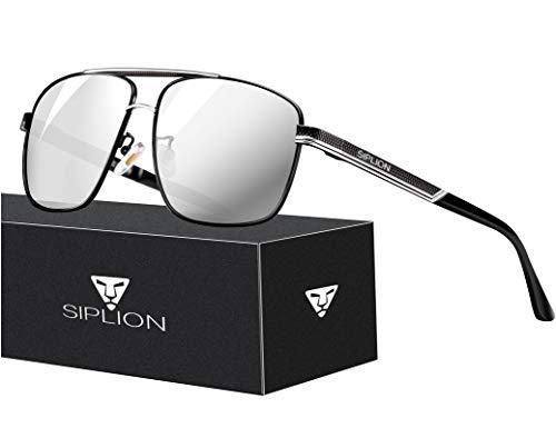 SPLION Herren Fahrerbrille Polarisierte Sonnenbrille Rechteckige Metall Rahmen Silber 1823