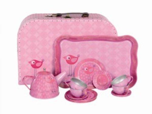 Egmont Toys Kinderkoffer Tee-Set, Spielkoffer, Puppengeschirr, Motiv: Vogel, ca. 29 x 20 x 10 cm, in...