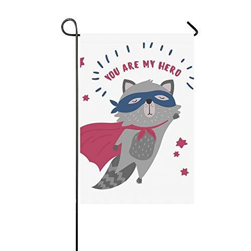 Individuelle Superhelden Kostüm - Home Dekorative Outdoor Doppelseitige Nette Waschbär Superheld Kostüm Sie Meine Garten Flagge, haus Hof Flagge, garten Hof Dekorationen, saisonale Willkommen Outdoor Flagge Frühling Sommer Geschenk