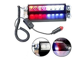 HQRP Lumière stroboscope bleu / rouge, 8-LED type de 4x4 pour tableau de bord avertissement / urgence