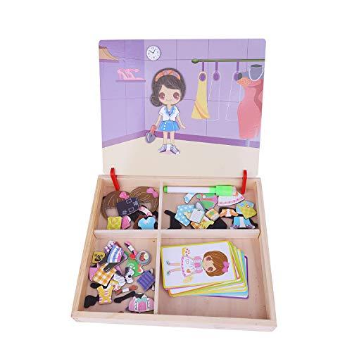 Magnetisches Holzpuzzle Magnetbox Kinder Pädagogisches Puzzlespiel Holzspielzeug Lernspielzeug Zeichenbrett Geburtstag 3-6 Jahren alt Kleinkinder Mädchen Jungen