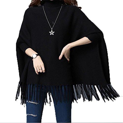 Rot Plus Kleid Größe Flapper (YUYU Frauen Langarm-beiläufige lose T-Shirt-Kleid Knitting Schal Jacke , black ,)