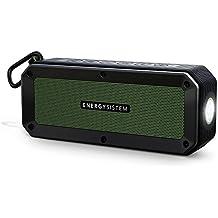 Energy Sistem Outdoor Box Adventure - Altavoz con Bluetooth (10 W, Resistente al Agua y Golpes, con Linterna), Color Negro y Verde
