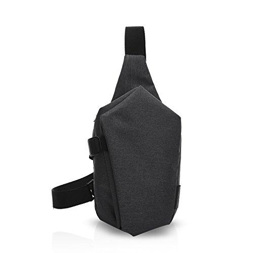 FANDARE Sling Bag Rucksack Umhängetasche Brusttasche Messenger Bag Schultertasche Reisen Wandern Daypack Crossbody Bag Chest Pack Outdoor Sports Reisetasche Polyester Schwarz