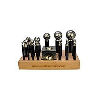 Proops 19 Piece Dapping Doming Hardened Steel Punch & Block Set in Wooden Stand. (J2124) Free UK Postage
