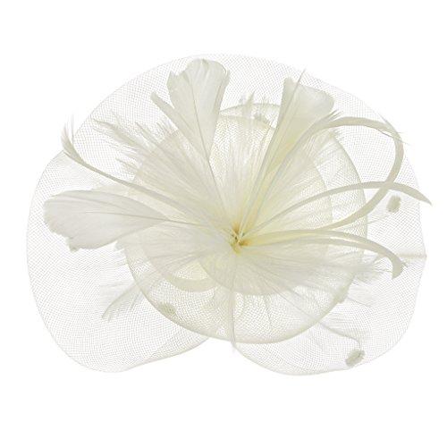 FakeFace Fascinator Hüte mit Feder Blumen Haar Clip Haarreif Haar Accessoire Netz-Mütze Schleier Tea Party Hochzeit Kirche Haarschmuck Kopfschmuck Kopfbedeckung für Frauen,beige