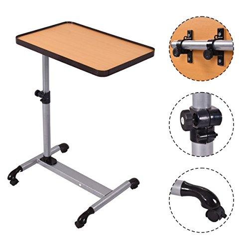 Bett Rollen (COSTWAY Laptoptisch Notebooktisch Stehtisch Pflegetisch Couchtisch Beistelltisch Höhe/ Winkel verstellbar mit Rollen Bremsen)