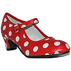 BUBBLE BOBBLE SEVILLANA Lunares B119 Zapatos de Niñas Elegantes Fiesta Rojo