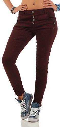 Lexxury Damen Boyfriends Baggy Stretch Jeans destroyed Look Damenhose Hüftjeans Denim Knopfleiste L1808-3 bordeaux S (36)