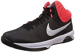 Nike Mens Air Visi Pro Vi Black, Metallic Platinum and Bright Crimson Sport Basketball Shoes -7 UK/India (41 EU)(8 US)