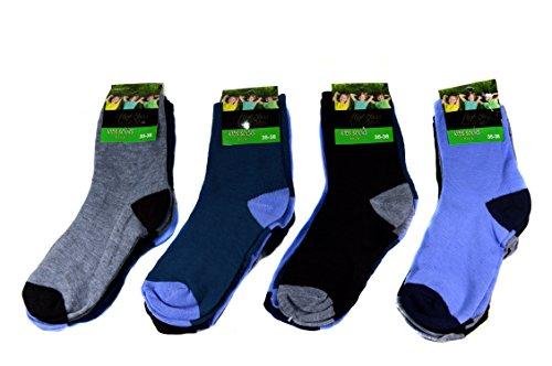 12 Paar Kids Socks Jungen Socken Kinder Strümpfe 85% Baumwolle A.S-100 Gr. 23-38 Verschiedene Farben (35-38)