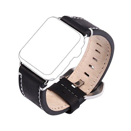 Für Apple Watch Armband 38mm Rosa Schleife® Schwarz Crazy Horse Lederarmband Uhr Band Apple iWatch Uhrenarmband Strap Series 1 Series 2 Replacement Wrist Band iWatch Armband Armbänder für Apple Watch Sport & Edition Alle Versionen (nur für alle 38mm Versions