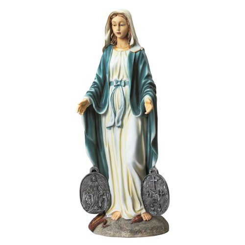 Design Toscano undertätige Medaille mit der Heiligen Madonna Gartenstatue, 20,5 x 24 x 58,5 cm - Von Maria Medaillen
