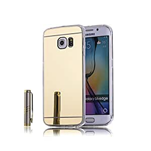 Go Crazzy Samsung Galaxy S6 Edge New Luxury Soft Silicon Electroplated Mirror Finish Back Cover Frame Case for Samsung Galaxy S6 Edge (GOLD) With Free Aux cable 3.5mm to 3.5mm jack audio cable