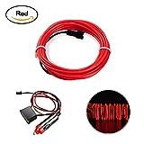 HopeU5 5M Coche 12V LED luces frías Flexible Neon EL Wire Lámparas automáticas en coche Tiras de luz fría Tiras de decoración interior de línea lámparas-Rojo