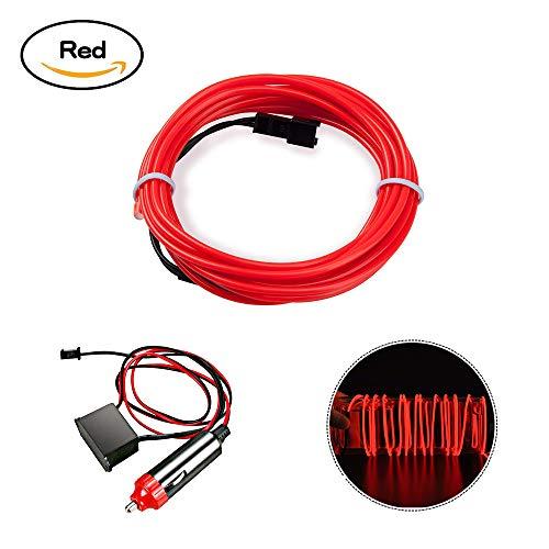 HopeU5® 5M auto 12V LED luci fredde flessibile neon EL filo lampade auto su auto strisce di luce fredda linea decorazione interna strisce lampade-rosso