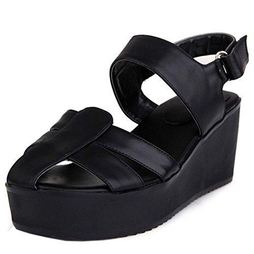 Taoffen Moda Senhoras Planalto Cunha Tira No Tornozelo Sandálias De Salto Sapatos Slingback Preto