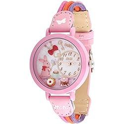 Cute Cartoon Rabbit Leather Strap Quartz Children Girl Wrist Watch,Pink