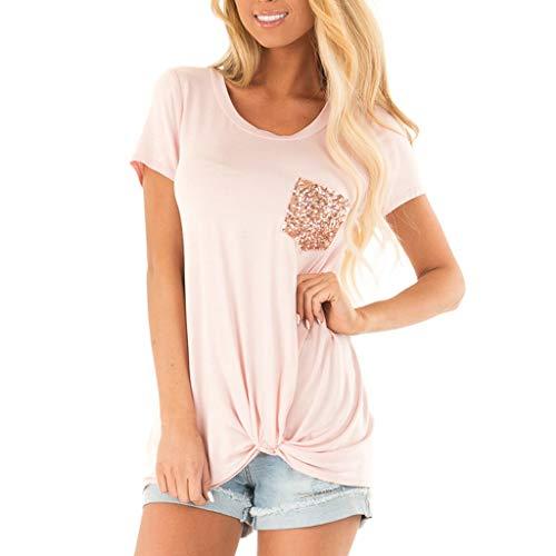 Honestyi Frauen Sommer mit kurzen Ärmeln O Neck T Shirt Pailletten Tasche Casual Basic Tops Damenmode V Ausschnitt Pailletten Tasche geknotet Casual Top(Rosa,S) -