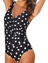 Oudan Tankini Push Up con Cuello en V Traje de Baño de Dos Piezas Falda con Relleno Vintage Playa Mar Swimsuit