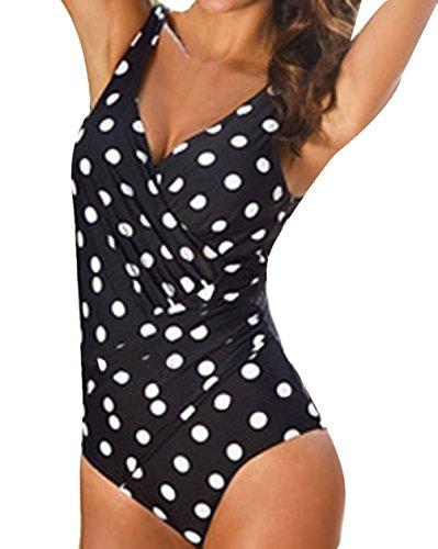 Mujer Bikini Push Up Monokini Elegante Verano Casual Lunares Una Sola Pieza Bañadores Ropa Fiesta Modernas Vacaciones Moda Playa Tallas Grandes Trajes De Baño (Color : Black-1, Size : XXXL)