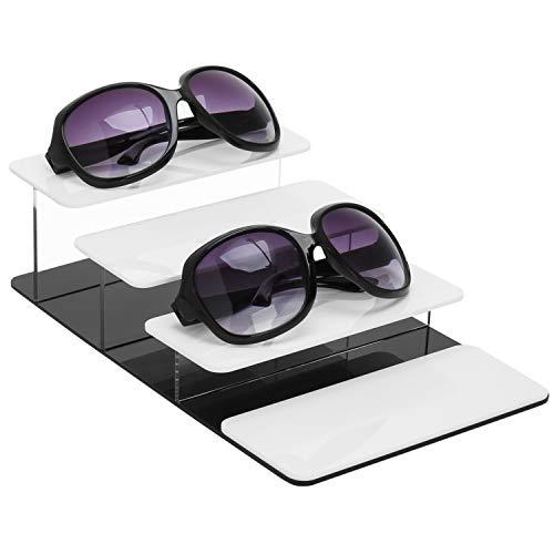 MyGift Sonnenbrille, 4-stöckig, Acryl, Weiß/Schwarz