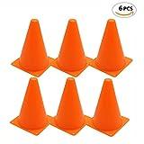 Uteruik Conos de tráfico de plástico de 17,78 cm – Conos de Actividad Multiusos para Deportes de Fiesta, Juegos y Eventos Festivos para niños al Aire Libre y en Interiores, Paquete de 6