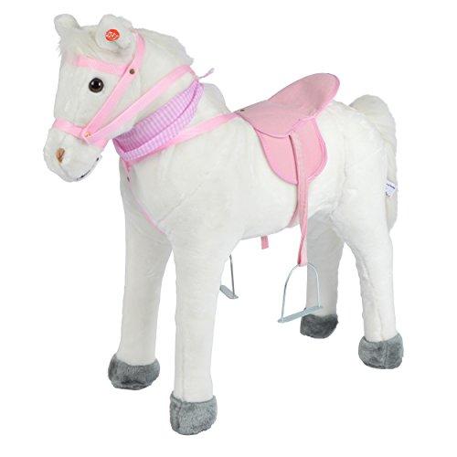 Pink Papaya Stehpferd zum draufsitzen - 75cm Plüschpferd Molly, mit Sound