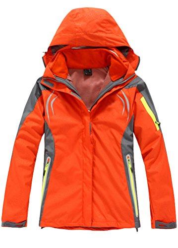 MatchLife Femmes Doublure Pour Vêtements Amovible Manteau Chaud Respirant Hiver Veste Imperméable Orange