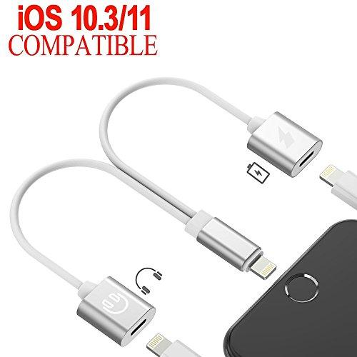 Adapter KopfhöRer und Laden für Apple iPhone X / 8 Plus / 8 / 7 Plus / 7 , 2 in 1 Dual Lightning Adapter Unterstützung Music Control.Aufladen und Anrufen,Kompatibel mit 11 System