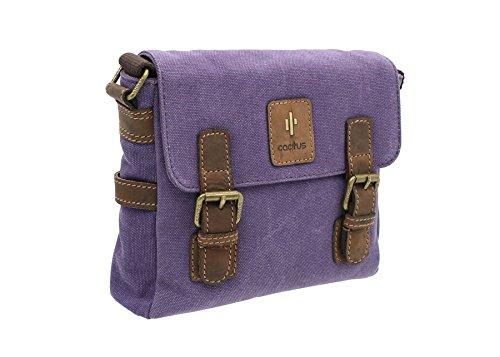CACTUS tela e Distressed Leather Satchel oliato / Messenger Bag CS808_81 Viola Purple