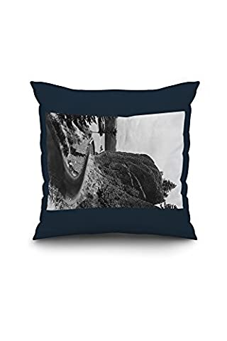 Columbia Gorge View of Bishop's Cap Photograph (18x18 Spun Polyester Pillow case, Custom Border)