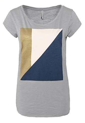 Rock Angel Damen T-Shirt Luisa | Bequemes Print Shirt Aus Reiner Baumwolle Light-Grey M (Rock Geometrische Print)