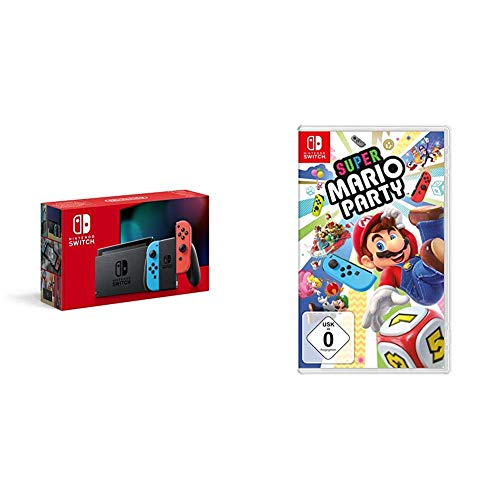 Nintendo Switch Konsole - Neon-Rot/Neon-Blau (2019 Edition) + Super Mario Party
