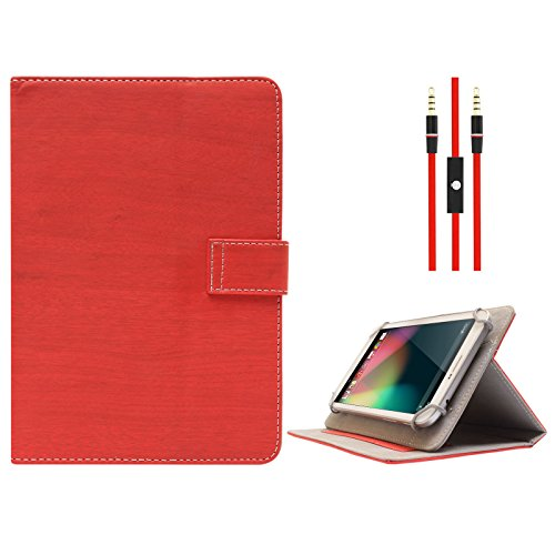 DMG Protective Flip Book Cover Stand View Case for Digiflip Pro Xt 712 Tablet (Red) + 3.5mm Flat AUX Cable with Mic  available at amazon for Rs.499