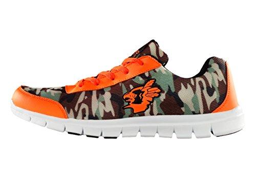 SebroSports SEBRO One Bequemer und stylischer Sneaker Camouflage fuer Herren und Damen Ultra Leichter Sportschuh mit atmungsaktivem Nylon Mesh Obermaterial  Camouflage Neon-Orange EU 42 (Sport-schuhe Für Sale)