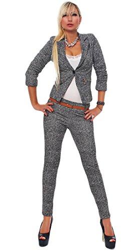 4417 Fashion4Young Damen Business Anzug Hosenanzug Hose und Blazer Weste Jacke in Grau 4 Größen (L = 38, Grau Weiß) (Nylon Tweed-rock)