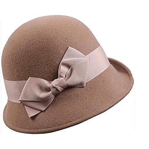 WE&ZHE In feltro di lana cappello bacino tappo donne decorazione di giunzione Bowler regolabile Retro Butterfly ampia tesa British style autunno e inverno , 4#