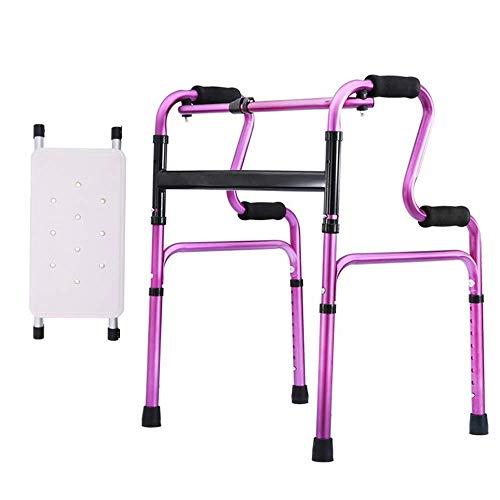 ZXL Walker Leichte 2,8 kg tragbare ältere Menschen mit Sitz, 4-beiniger Gehstock, Aluminiumlegierung, Gewicht 308 Pfund (Farbe: Noble Lila) - Walker Rest Sitz