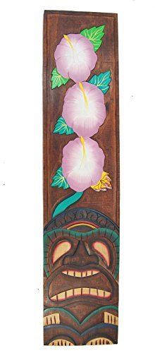 Tiki-Cartel-100-cm-con-Tiki-Flores-Diseo-Cartel-de-madera-Hawaii-Decoracin