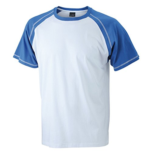 JAMES & NICHOLSON T-Shirt in design sportivo bicolore White/Royal
