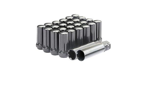DCVAMOUS 24 x Schwarze Spline verl/ängerte Radmuttern M14 x 1,5 Gewinde mit Schl/üssel 5,1 cm hoher Kegelsitz kompatibel mit 6 Lug Chevy GMC Aftermarket R/ädern